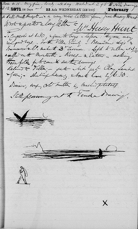 Lear's diary entry, February 22, 1871. Houghton Library, MS Eng 797.3 (14)