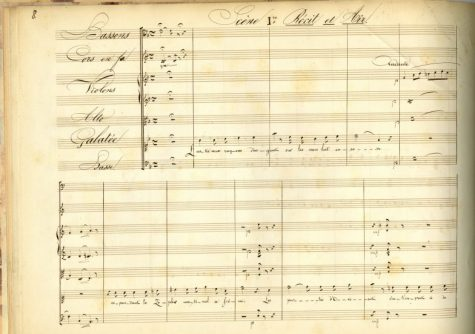 "Hector Berlioz's criticism that Prix de Rome texts begin ""with the twilight of dawn"" is illustrated in a manuscript page by the cantata's opening line, ""The silver-beamed moon still shines on the seas."""