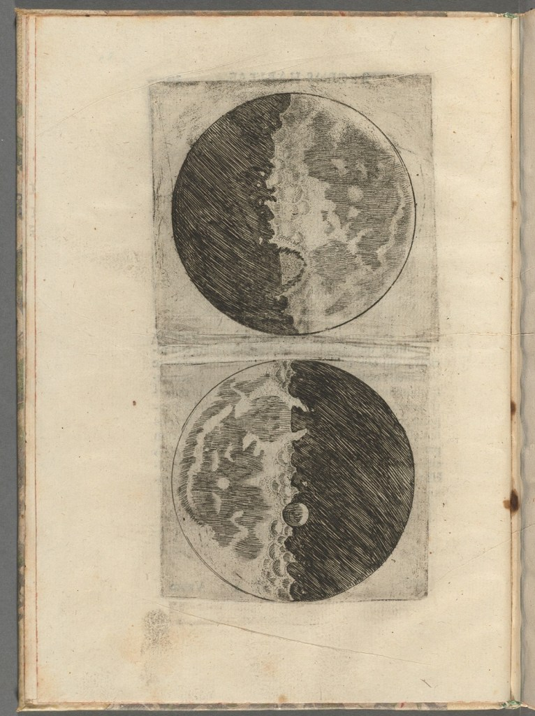 Two drawings of Galileo's observation of the moon through a telescope. The first image shows the moon waxing, and the second shows the moon waning.