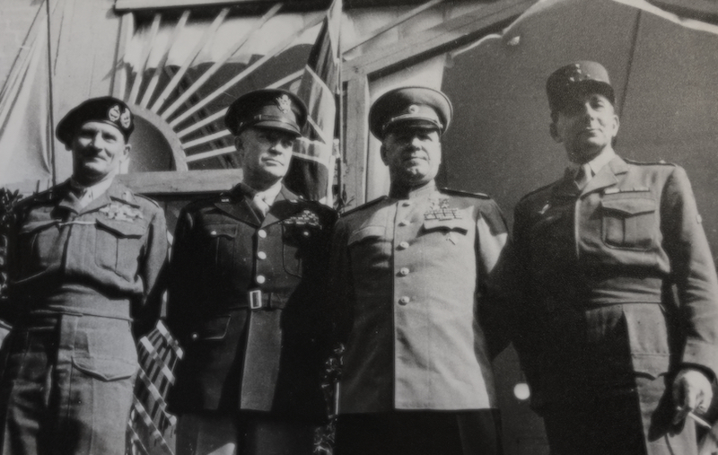 Bernard Law Montgomery, Dwight Eisenhower, Georgii Zhukov, and Jean de Lattre de Tassigny in Berlin, 1945.