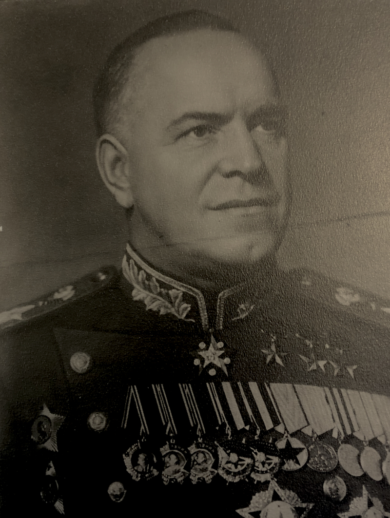 Black and white portrait of Marshal of the Soviet Union Georgii Konstantinovich Zhukov