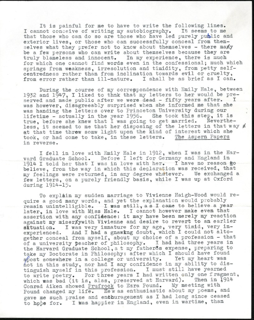 Page 1 of T.S. Eliot's 3-page letter regarding the letters he wrote to Emily Hale. © Estate of T.S. Eliot