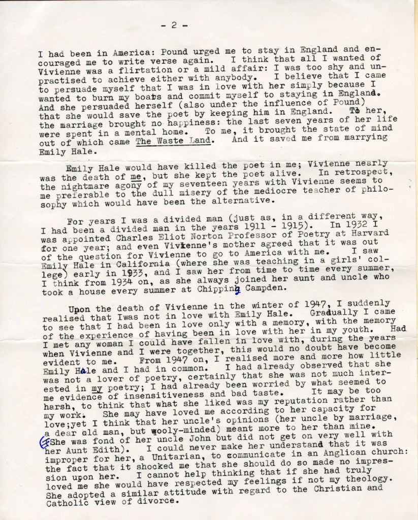 Page 2 of T.S. Eliot's 3-page letter regarding the letters he wrote to Emily Hale. © Estate of T.S. Eliot