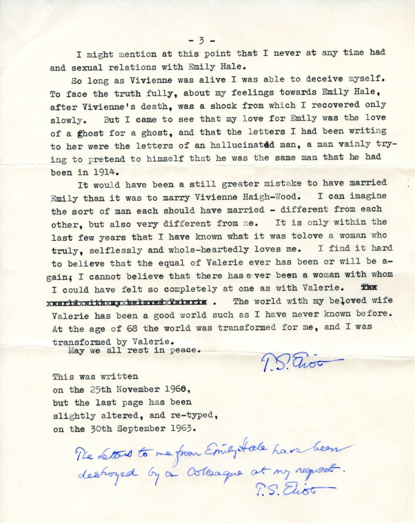 Page 3 of T.S. Eliot's 3-page letter regarding the letters he wrote to Emily Hale. © Estate of T.S. Eliot