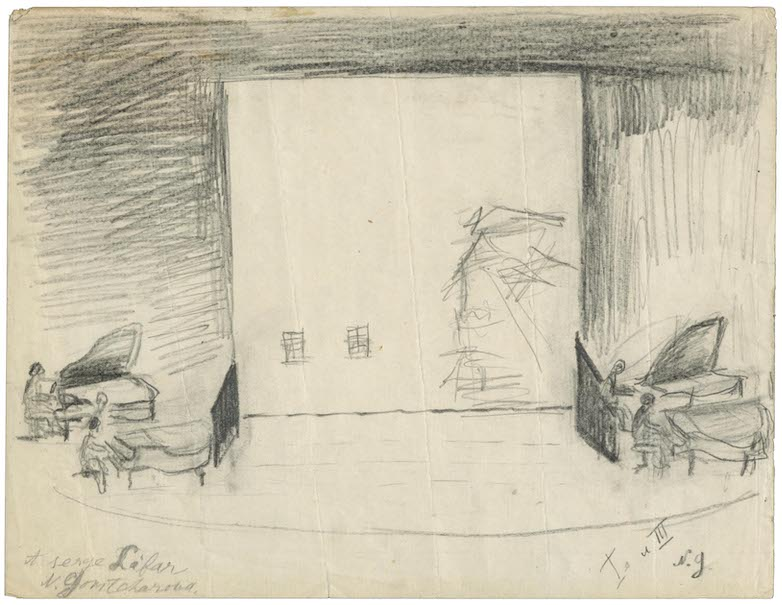 A set design drawn in pencil depics four pianos on stage, two on either side.