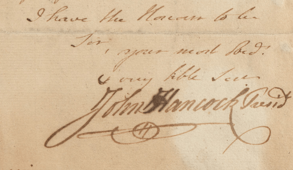 Closing and signature of John Hancock, President of the Continental Congress