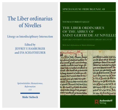 "Image of two book covers: ""The Liber ordinarius of Nivelles"" edited by Jeffrey F. Hamburger and ""The Liber Ordinarius of the Abbey of Saint Gertrude at Nivelles"" by Thomas Forrest Kelly."