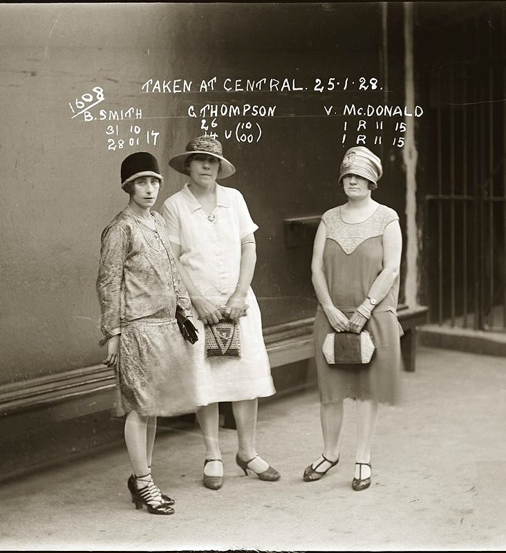 Mug shot of B. Smith, Gertrude Thompson and Vera McDonald, Central Police Station, Sydney, 25 January 1928.