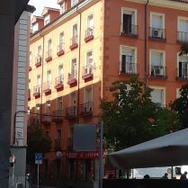 An interesting orange building near Puerta del Sol in Madrid.