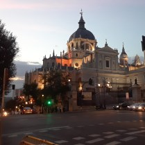 The Almudena cathedral in Madrid at dusk.