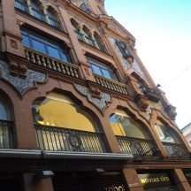 An eclectically inspired building facade in Seville.