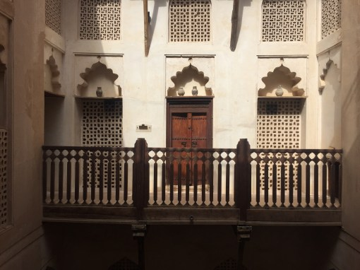 Courtyard balcony second floor. The door leads to a dining room for guests.
