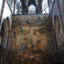 This tapestry is one of the oldest surviving of its kind in Germany and hangs in the Munster every year during Lent. It's from 1612!