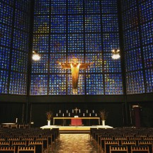 This is the main altar of the new Kaiser Wilhelm Memorial Church in Berlin.