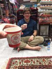 Danny having a cup of Karak in Shah's shop