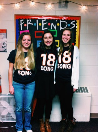 Michelle, our friend Rachel, and I posing in our 1-8 shirts!