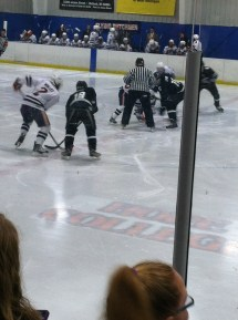 Here's a picture of a faceoff from the hockey game. The Dutchmen dominated. We left when it was 6-1 in the 2nd period and watched Beauty and the Beast in Gilmore.