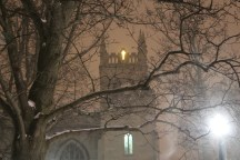 The cross lit atop Dimnent Chapel