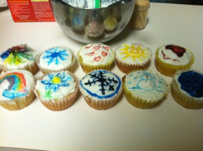 Our completed cupcake masterpieces