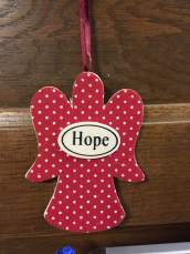 Ashley's Hope Christmas ornament turned everyday door decoration