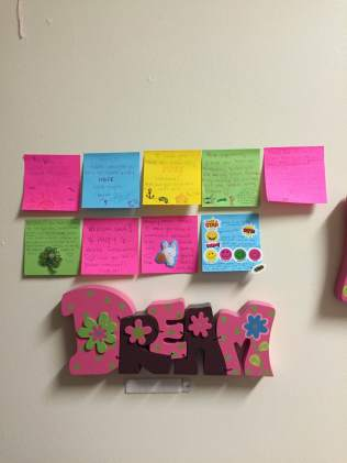 These are post-it notes I have made for my roommate over the semester she has kept on her wall,