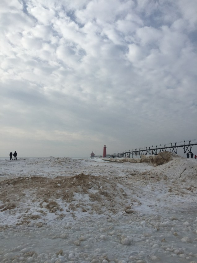 The Grand Haven Pier and the frozen beach