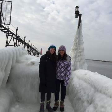 Ashley and I standing on the frozen pier