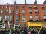 The people that were in the apartments shown here had the best views of the parade. We were jealous!