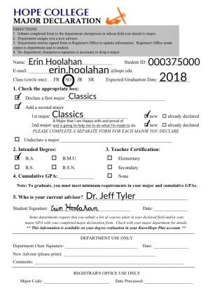 Mini major declaration form.