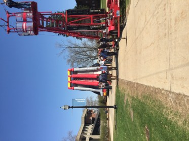A photo of the zip line and climbing wall at Spring Fling