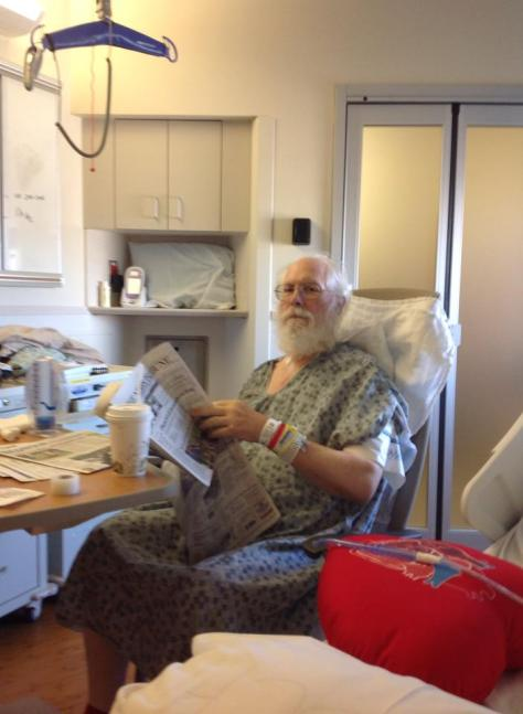 Waiting for lunch in the ICU, the morning after surgery.