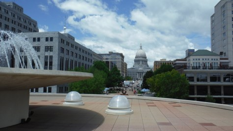 The Wisconsin State Capitol, from the fountain at Monona Terrace
