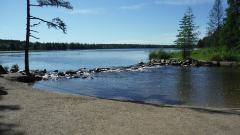 The official start of the Mississippi River, at the outlet of Lake Itasca, elevation 450m, 4110km to the Gulf of Mexico.
