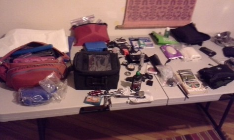 Sorting electronics, tools, spare parts, and small gear.