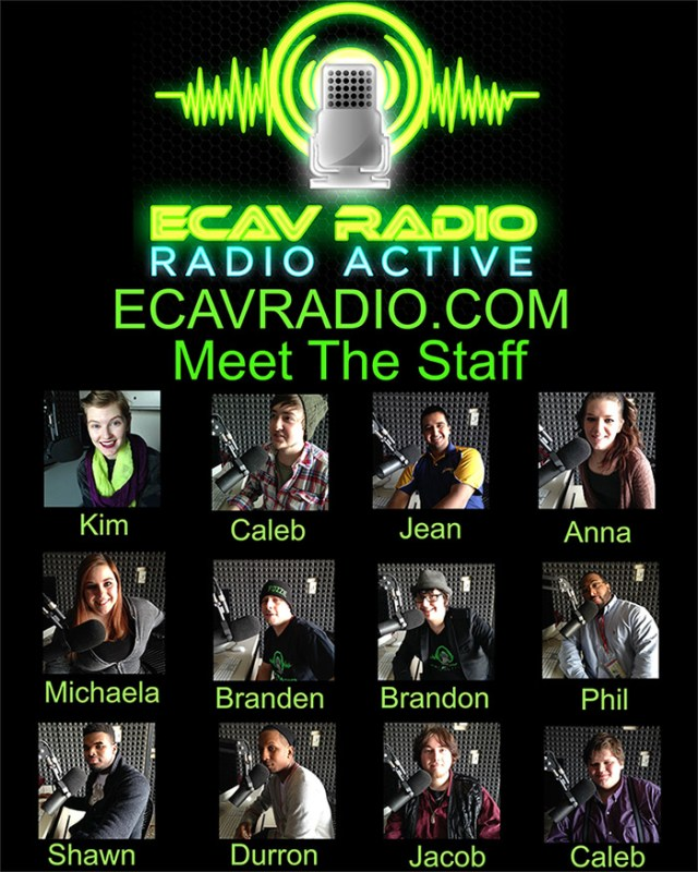 ECAV members are featured on a poster that is shown around campus. Photo courtesy of Michaela Hines and the ECAV Radio Station