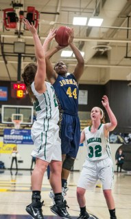Sophomore Nieka Wheeler goes up for a layup during the final NJCAA tournament game against Parkland at home. The Cavs won 46-44. Photo by Mike Abell