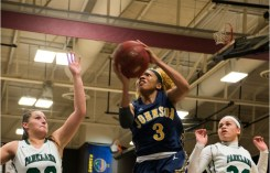 April 6, 2015: Freshman Chastity Franklin attempts to add more points to the board during the final NJCAA tournament game. Franklin is from St. Louis, Missouri. Photo by Mike Abell.