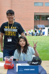 Frankie Zeng (Study abroad student from China and Senator) Carrisa Tao (Study abroad student from Indonesia and Secretary). Photo by E.J. Wood