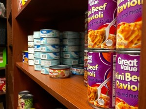 Canned goods in the food pantry, OCB 261Q. Photo by Pete Schulte.