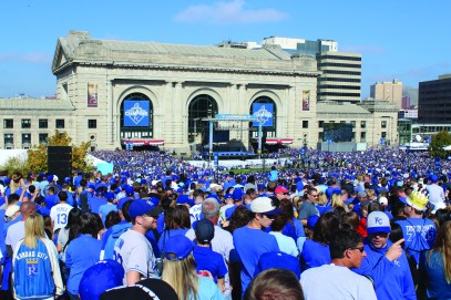 Fans gather at Union station to wait for the post- parade rally. Photo by Zach Nemechek