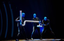Blue Man Group creates music from piping, one of their many instruments made specifically for the show at the Blue Man Group JCCC Performance, Jan. 22. Photo by Andrew Hartnett.