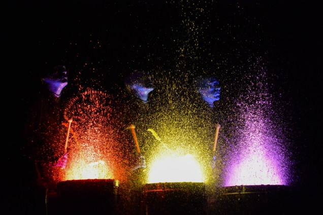 Paint drumming is one of Blue Man Group's signature moments of the show.