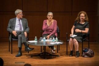 Panelists Geoffrey Stone, Carol Levine, and Dahlia Lithwick