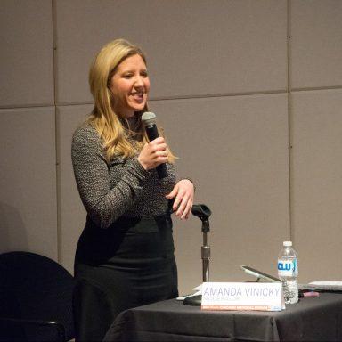 Amanda Vinicky moderating ACLU-IL Mayoral Forum
