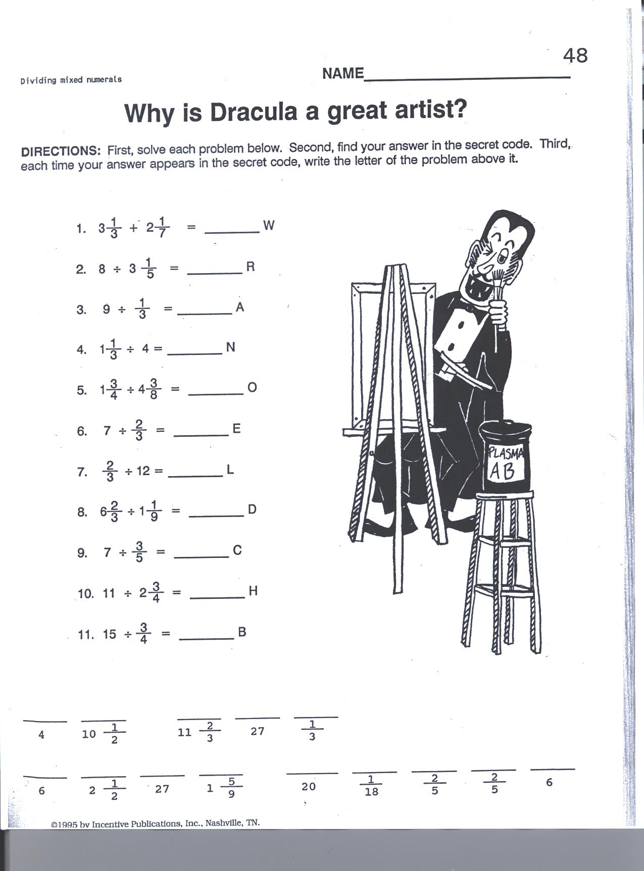 Grade 7 Fractions Worksheet