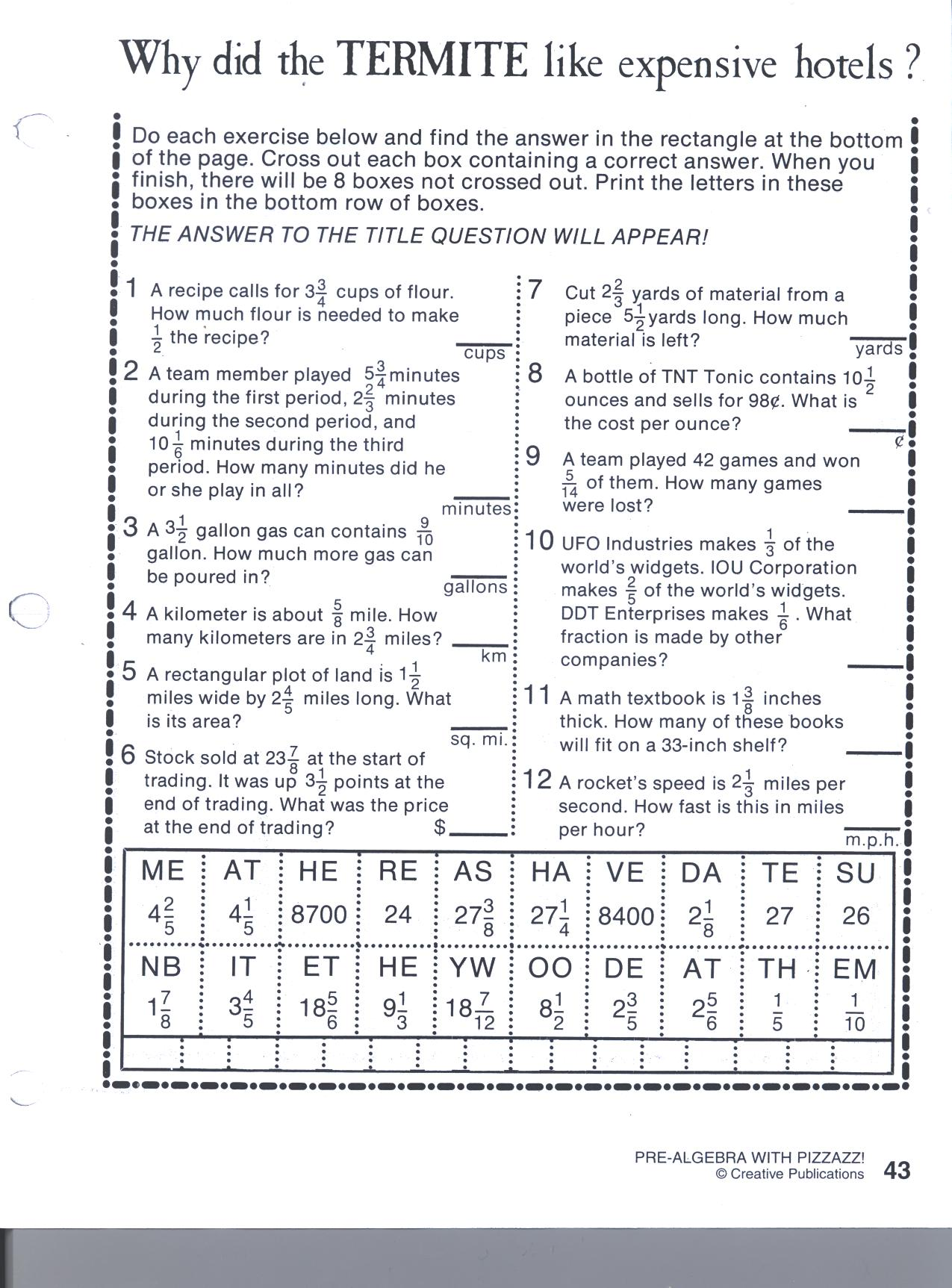 Grade 7 Bonus Worksheets