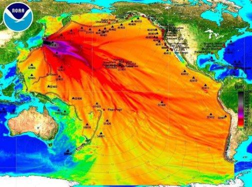 Imagen de la altura de la ola del tsunami japones, no tiene nada que ver con una supuesta radiación oceánica.