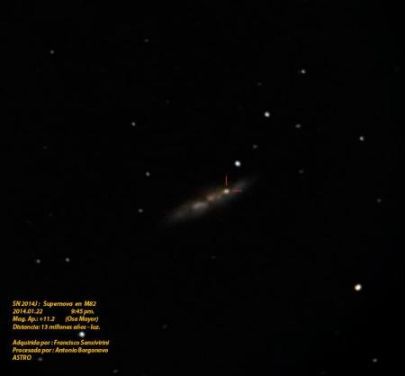 Supernova en galaxia M 82, imagen por Asociación Salvadoreña de Astronomía