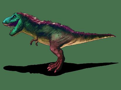 """En la actualidad se discute el verdadero color de los dinosaurios, se han descubierto dinosaurios con plumas, así que es posible que el Tyrannosaurus rex se viera algo así, de colores y con plumas en el lomo. Imagen por Kelvin González """"Hongo""""."""