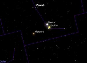 Imagen simulada de la conjunción planetaria entre Venus y Júpiter a las 6:30pm del 27 de agosto de 2016.